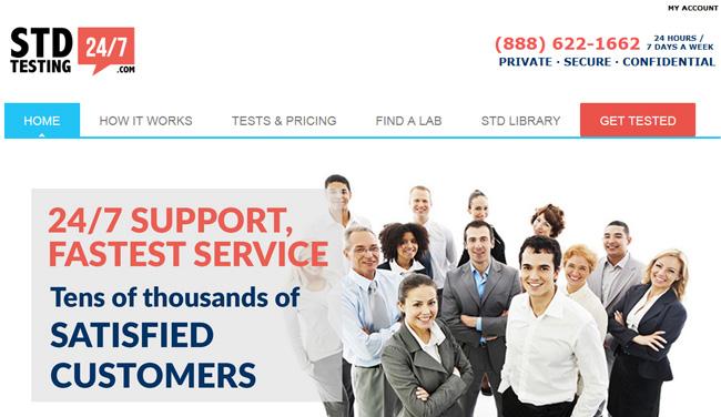 STD Testing 24/7 homepage