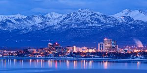 Anchorage Alaska skyline in winter