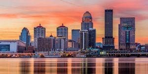 Louisville, Kentucky USA skyline on the river