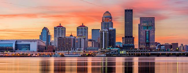 Louisville, Kentucky USA skyline on the river