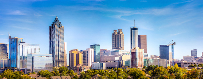 Atlanta Skyline showing several prominent buildings